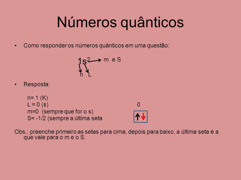 Números quânticos 1s2 m e S n L