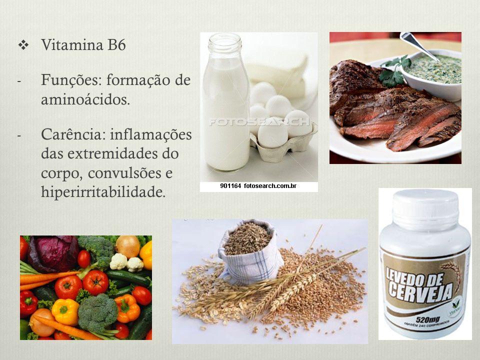 Vitamina B6 Funções: formação de aminoácidos.