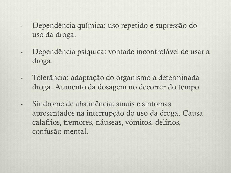 Dependência química: uso repetido e supressão do uso da droga.