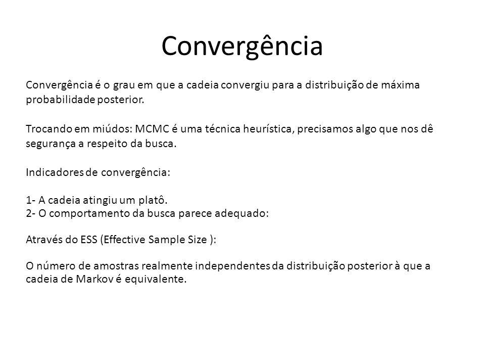 Convergência Convergência é o grau em que a cadeia convergiu para a distribuição de máxima probabilidade posterior.