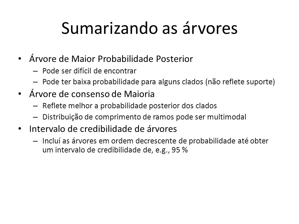 Sumarizando as árvores