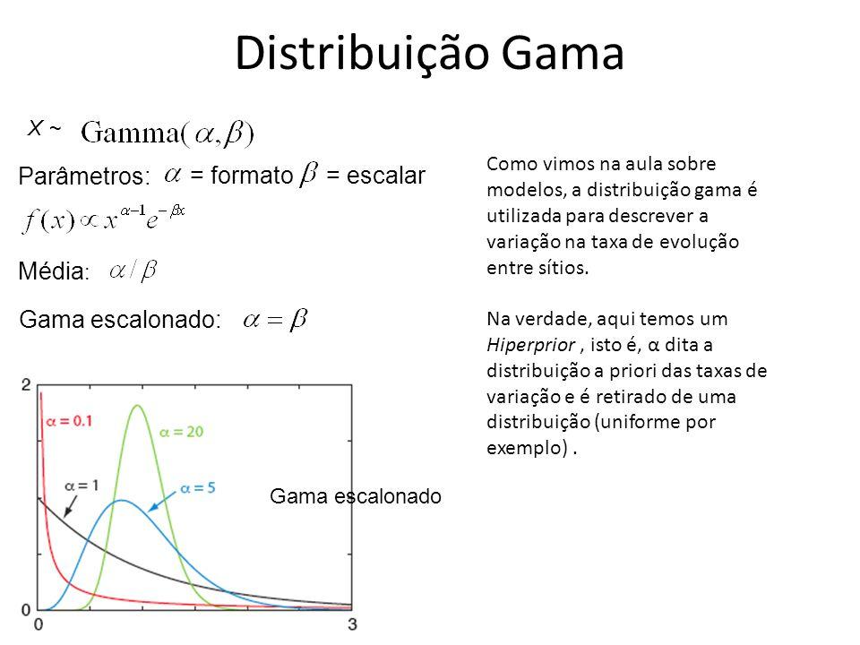 Distribuição Gama Parâmetros: = formato = escalar Média: