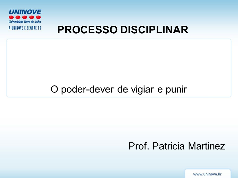 O poder-dever de vigiar e punir Prof. Patricia Martinez