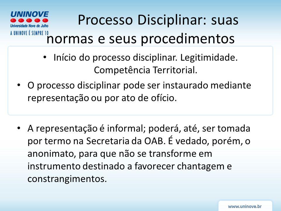 Processo Disciplinar: suas normas e seus procedimentos