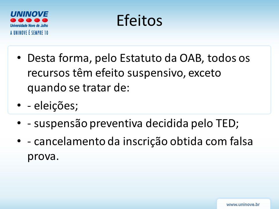 Efeitos Desta forma, pelo Estatuto da OAB, todos os recursos têm efeito suspensivo, exceto quando se tratar de: