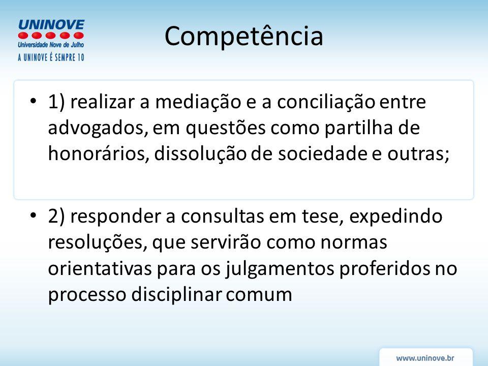 Competência 1) realizar a mediação e a conciliação entre advogados, em questões como partilha de honorários, dissolução de sociedade e outras;