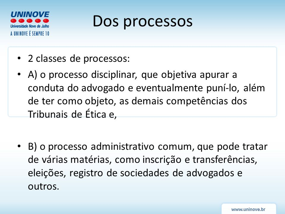 Dos processos 2 classes de processos: