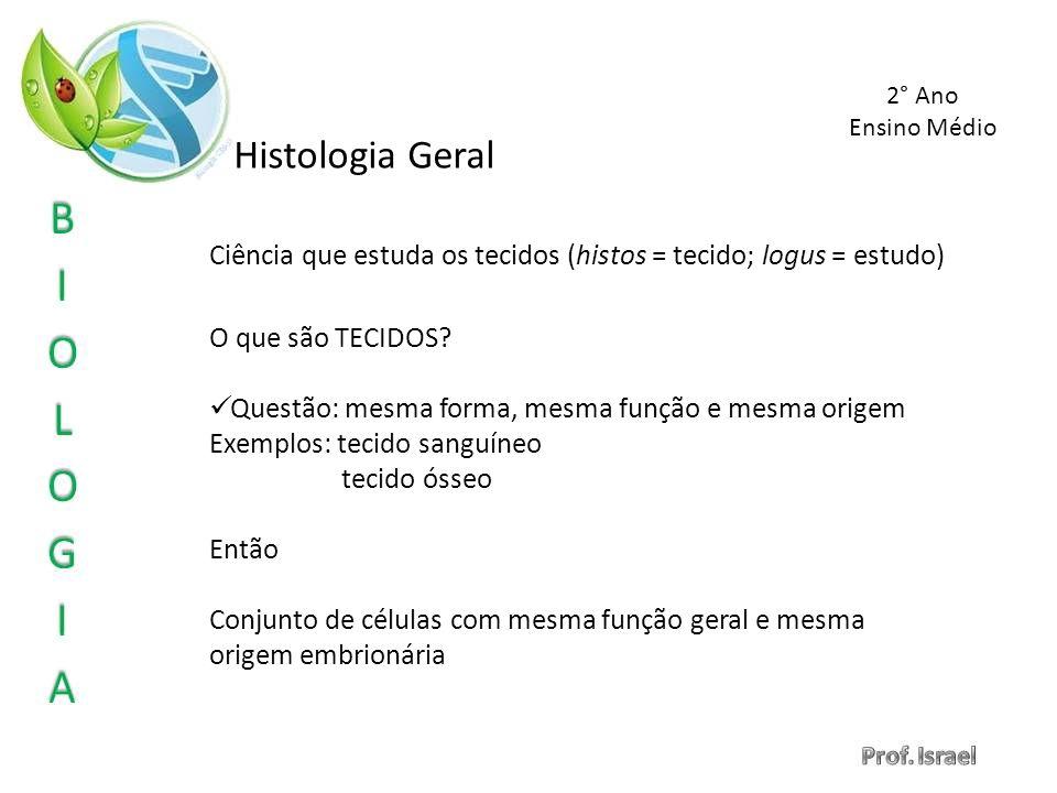 2° Ano Ensino Médio. Histologia Geral. Ciência que estuda os tecidos (histos = tecido; logus = estudo)