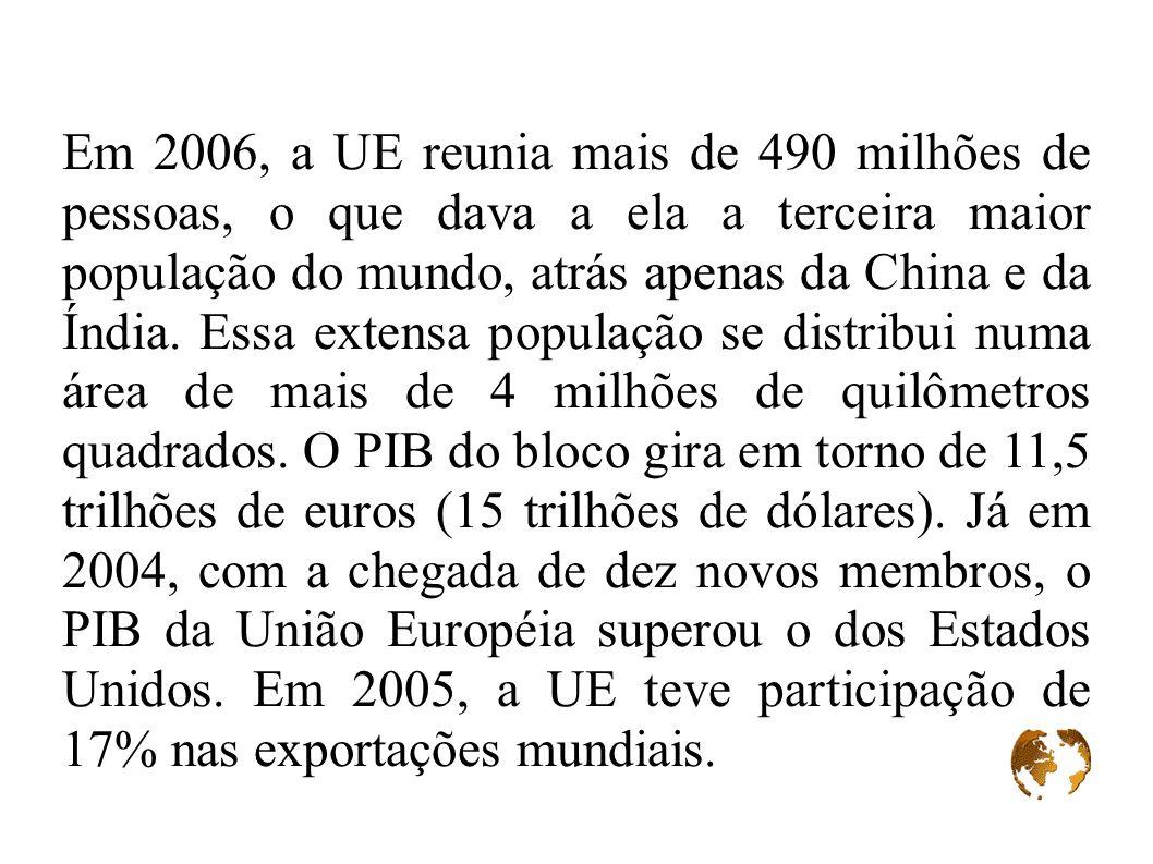 Em 2006, a UE reunia mais de 490 milhões de pessoas, o que dava a ela a terceira maior população do mundo, atrás apenas da China e da Índia.
