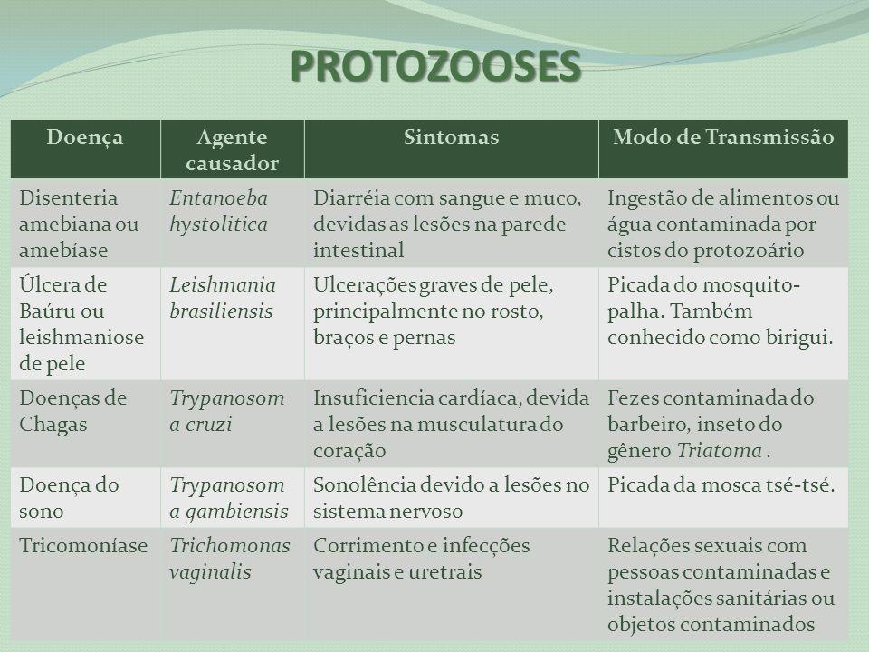 PROTOZOOSES Doença Agente causador Sintomas Modo de Transmissão