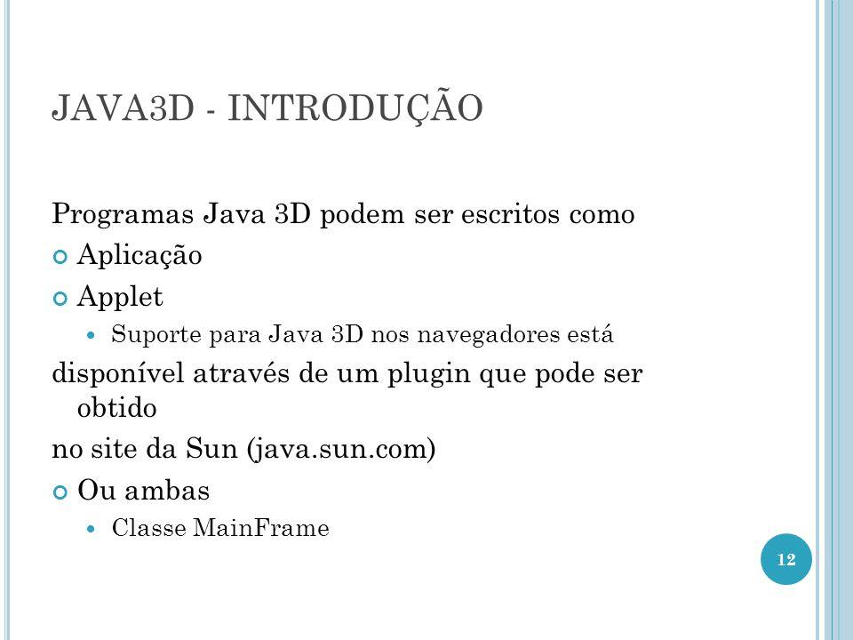 JAVA3D - INTRODUÇÃO Programas Java 3D podem ser escritos como