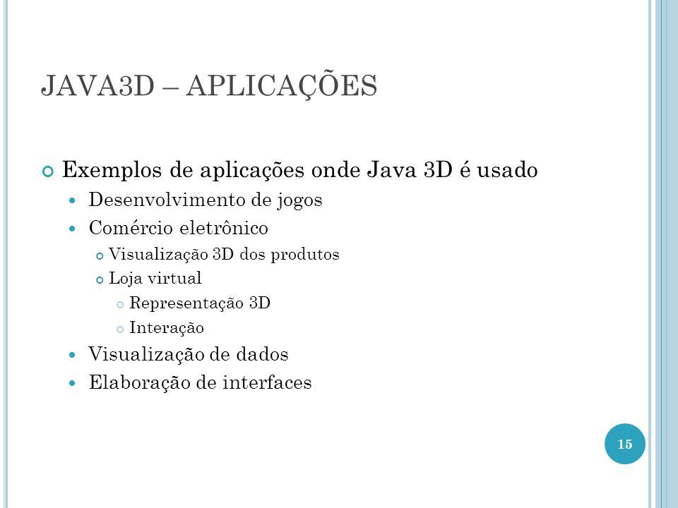 JAVA3D – APLICAÇÕES Exemplos de aplicações onde Java 3D é usado