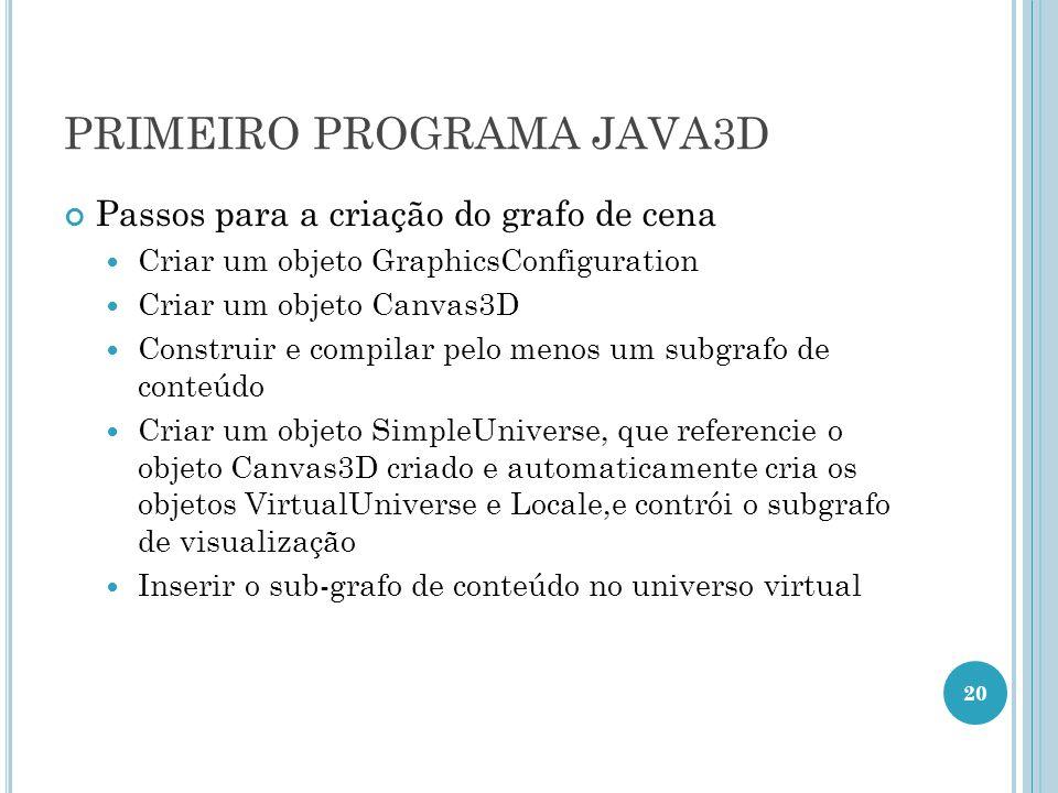 PRIMEIRO PROGRAMA JAVA3D