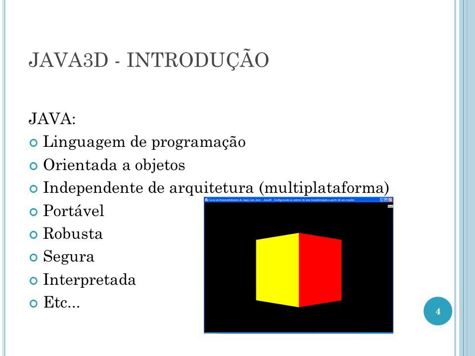 JAVA3D - INTRODUÇÃO JAVA: Linguagem de programação Orientada a objetos