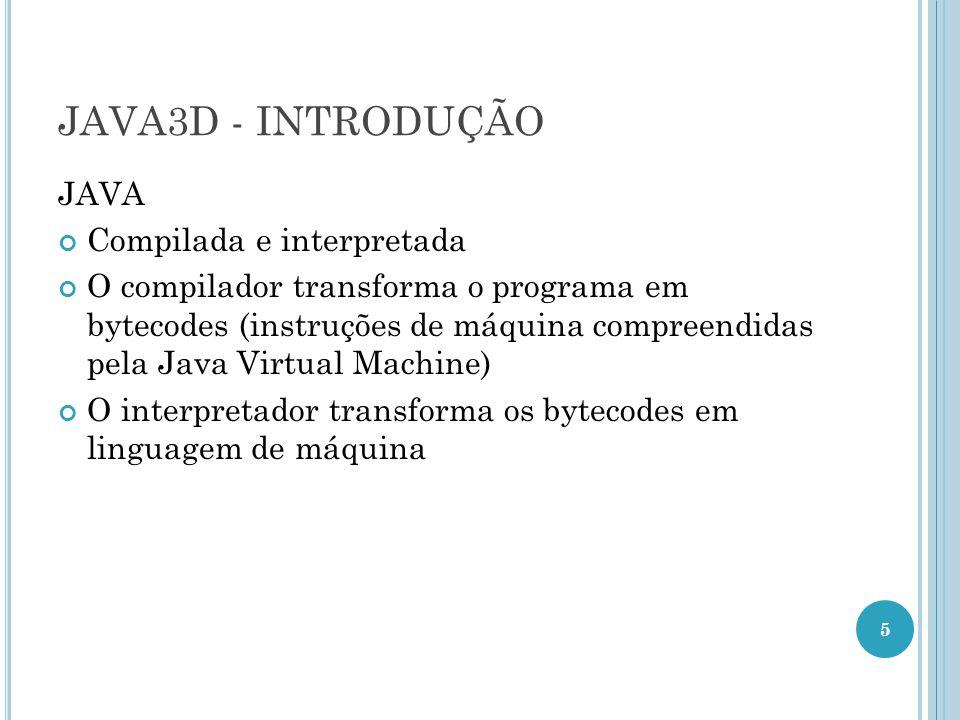JAVA3D - INTRODUÇÃO JAVA Compilada e interpretada