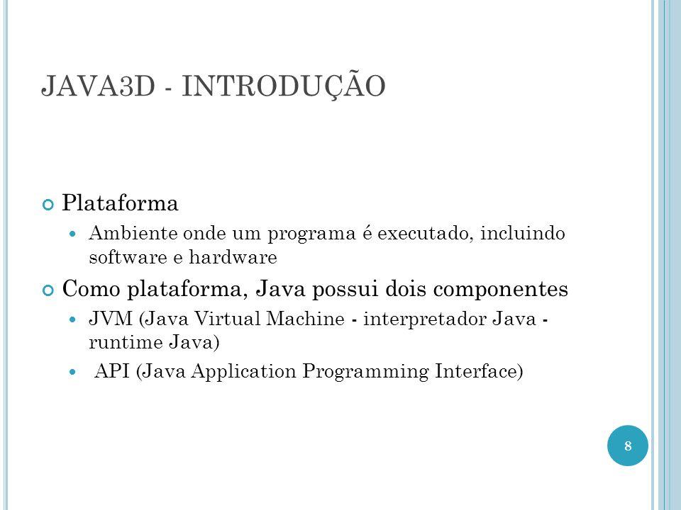 JAVA3D - INTRODUÇÃO Plataforma