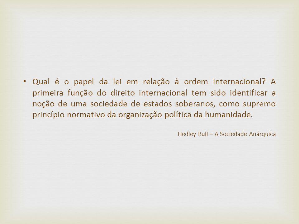 Qual é o papel da lei em relação à ordem internacional