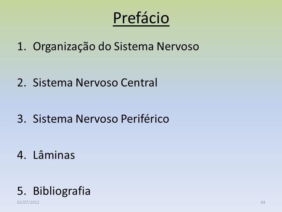Prefácio Organização do Sistema Nervoso Sistema Nervoso Central