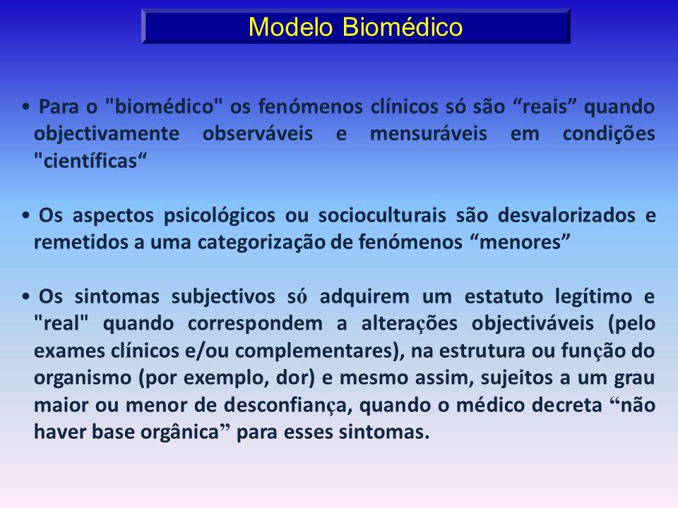 Modelo Biomédico Para o biomédico os fenómenos clínicos só são reais quando objectivamente observáveis e mensuráveis em condições científicas