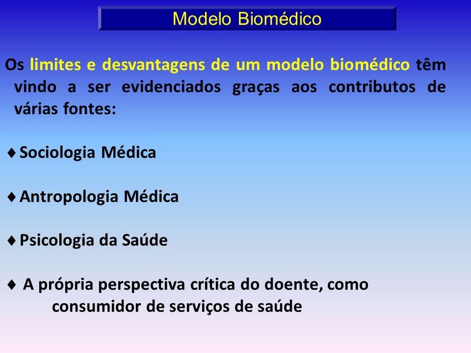 Modelo Biomédico Os limites e desvantagens de um modelo biomédico têm vindo a ser evidenciados graças aos contributos de várias fontes: