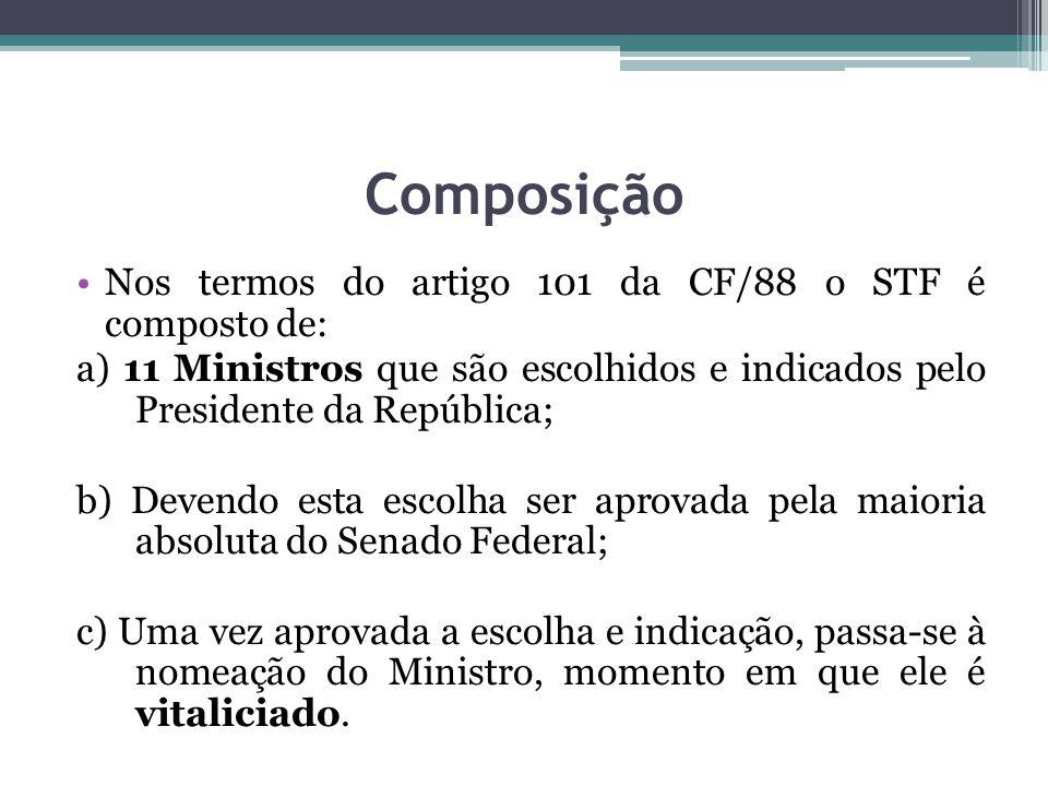 Composição Nos termos do artigo 101 da CF/88 o STF é composto de: