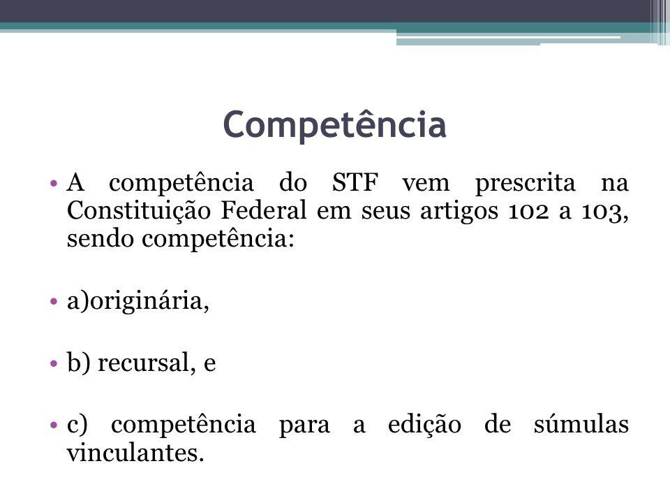Competência A competência do STF vem prescrita na Constituição Federal em seus artigos 102 a 103, sendo competência:
