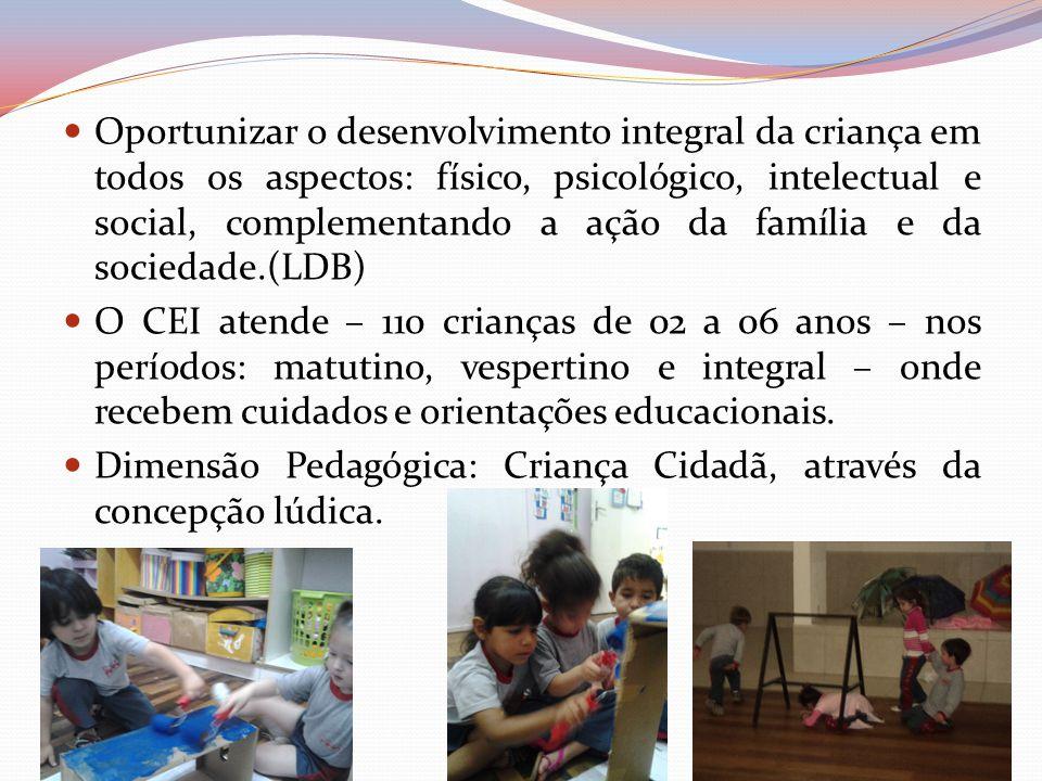 Oportunizar o desenvolvimento integral da criança em todos os aspectos: físico, psicológico, intelectual e social, complementando a ação da família e da sociedade.(LDB)