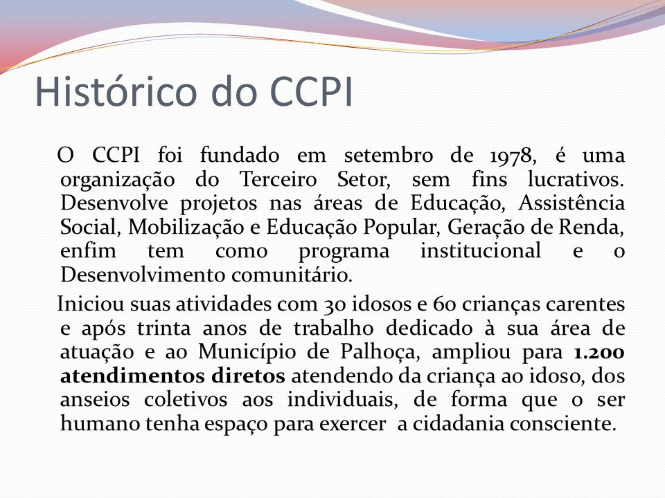 Histórico do CCPI