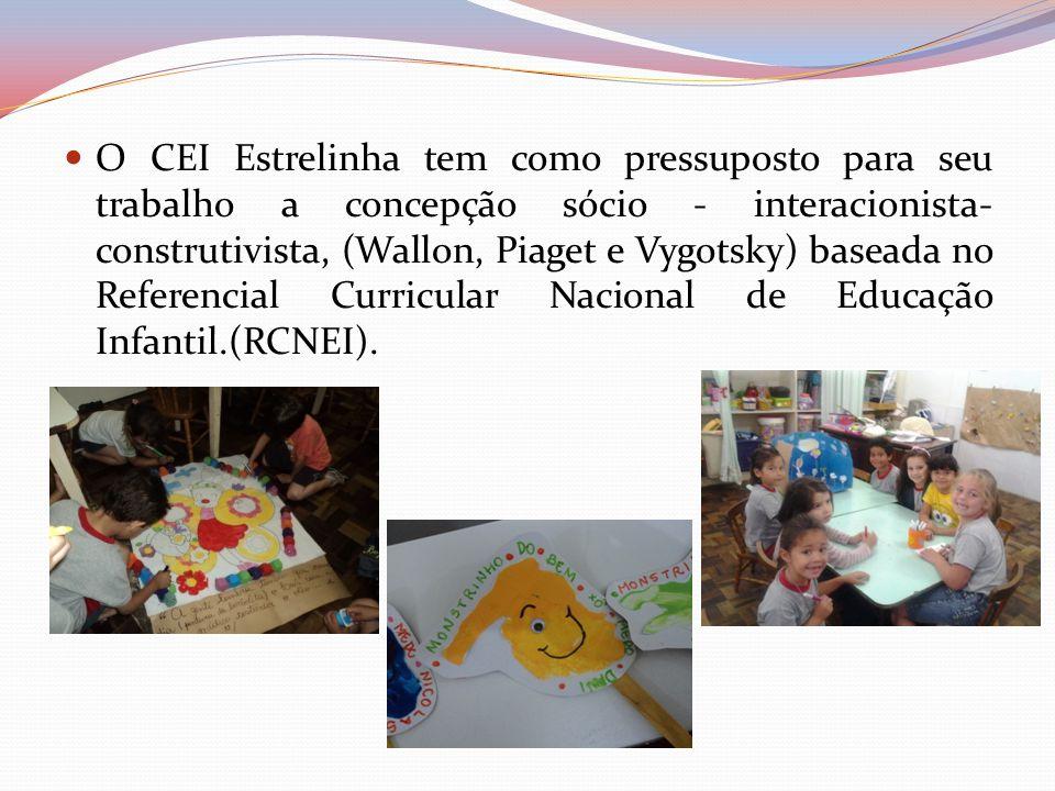 O CEI Estrelinha tem como pressuposto para seu trabalho a concepção sócio - interacionista- construtivista, (Wallon, Piaget e Vygotsky) baseada no Referencial Curricular Nacional de Educação Infantil.(RCNEI).