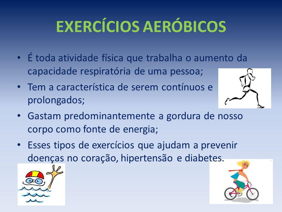 EXERCÍCIOS AERÓBICOS É toda atividade física que trabalha o aumento da capacidade respiratória de uma pessoa;