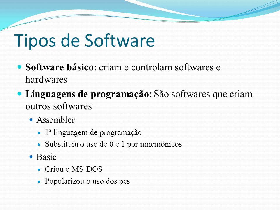 Tipos de Software Software básico: criam e controlam softwares e hardwares. Linguagens de programação: São softwares que criam outros softwares.