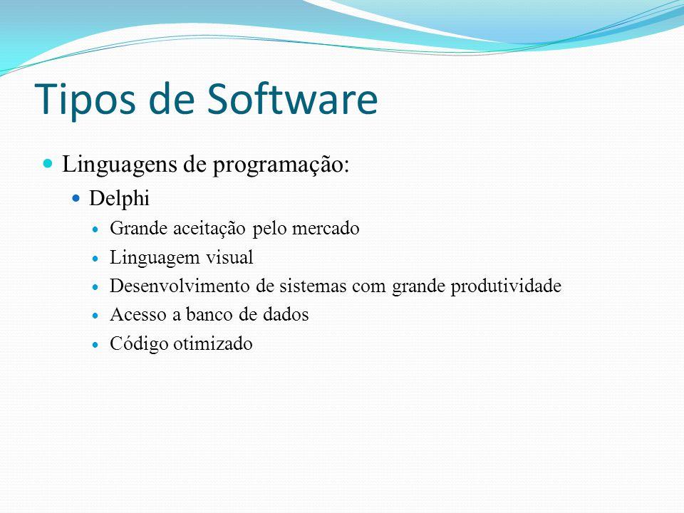 Tipos de Software Linguagens de programação: Delphi