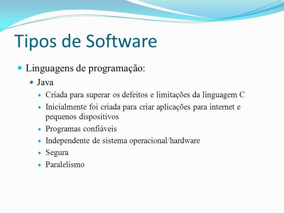 Tipos de Software Linguagens de programação: Java