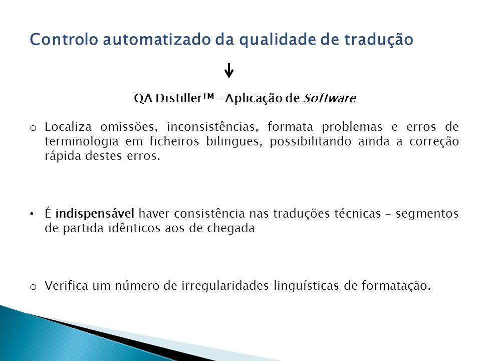 QA DistillerTM – Aplicação de Software