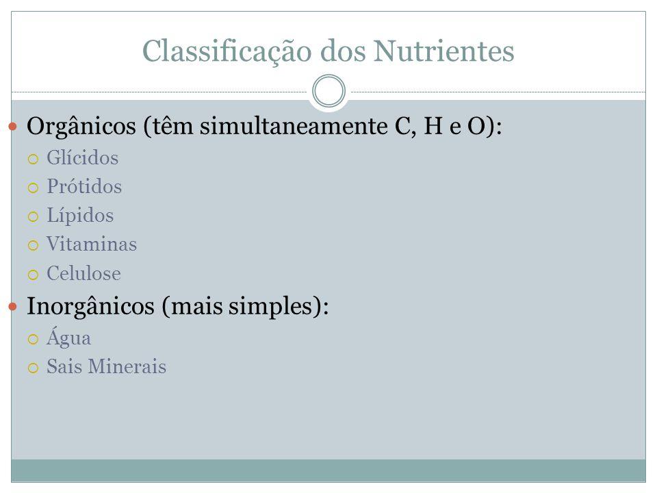 Classificação dos Nutrientes