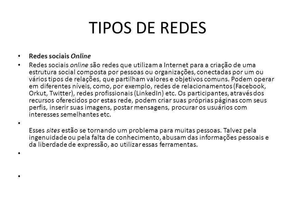 TIPOS DE REDES Redes sociais Online