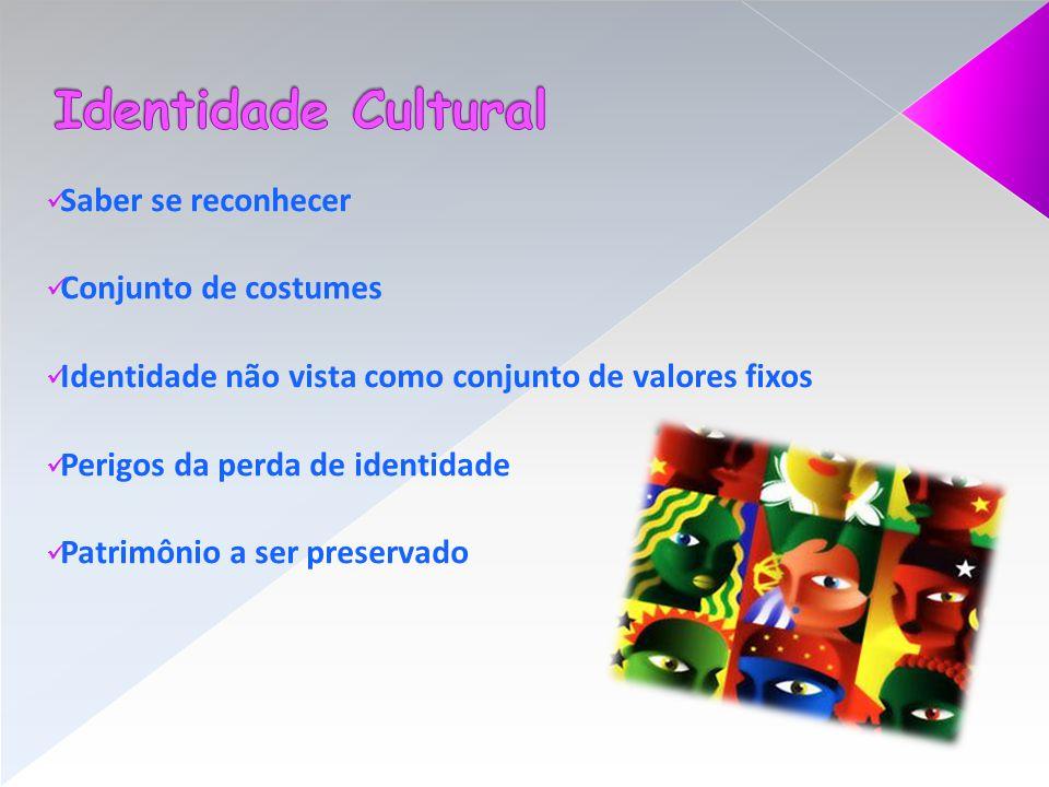Identidade Cultural Saber se reconhecer Conjunto de costumes