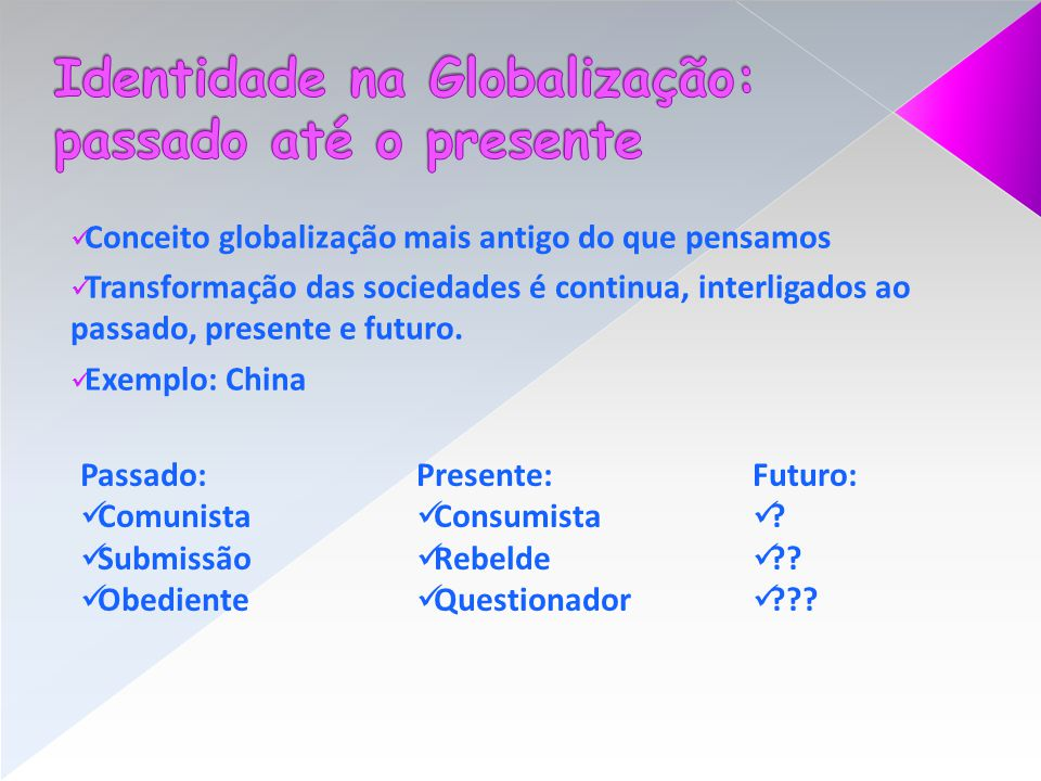 Identidade na Globalização: passado até o presente
