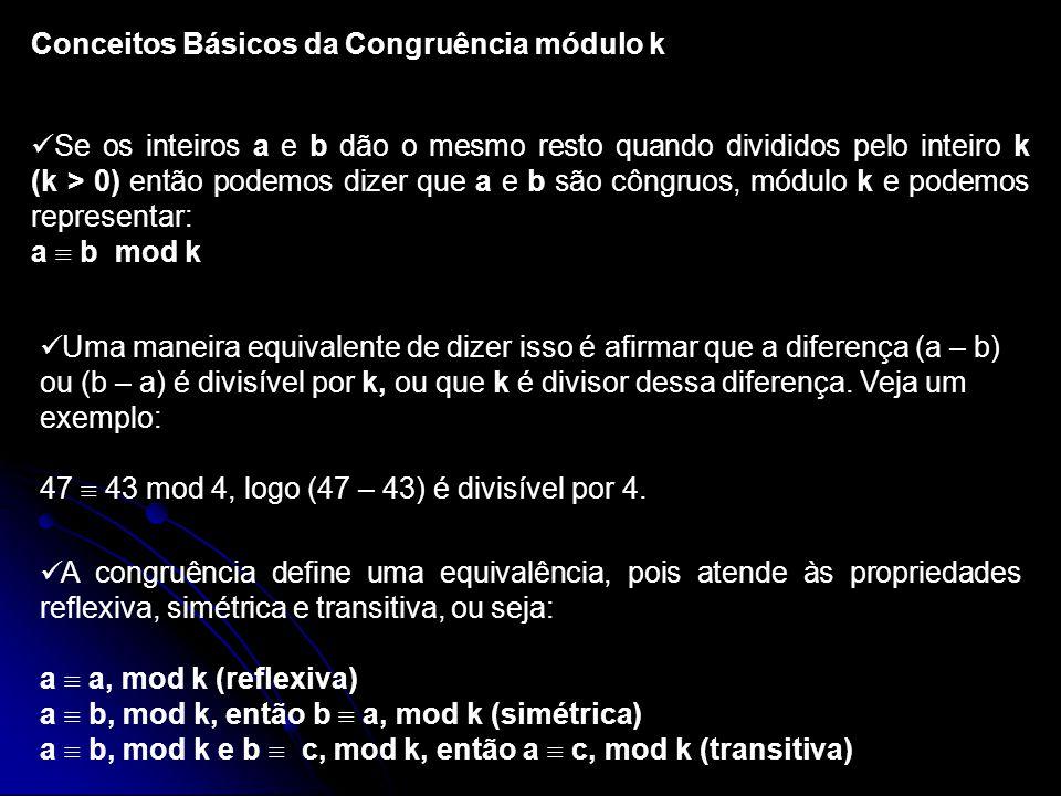 Conceitos Básicos da Congruência módulo k