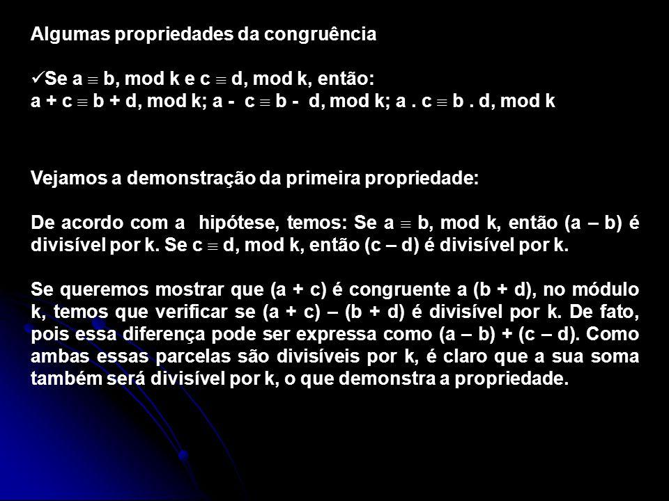 Algumas propriedades da congruência