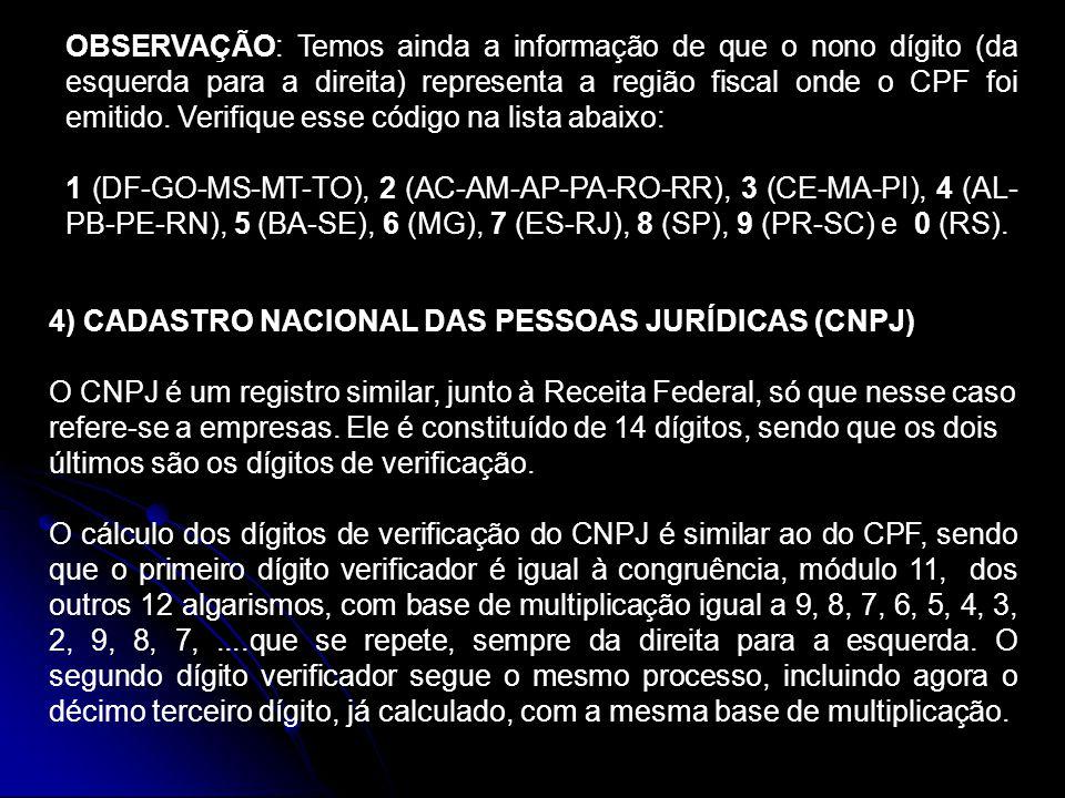 OBSERVAÇÃO: Temos ainda a informação de que o nono dígito (da esquerda para a direita) representa a região fiscal onde o CPF foi emitido. Verifique esse código na lista abaixo: