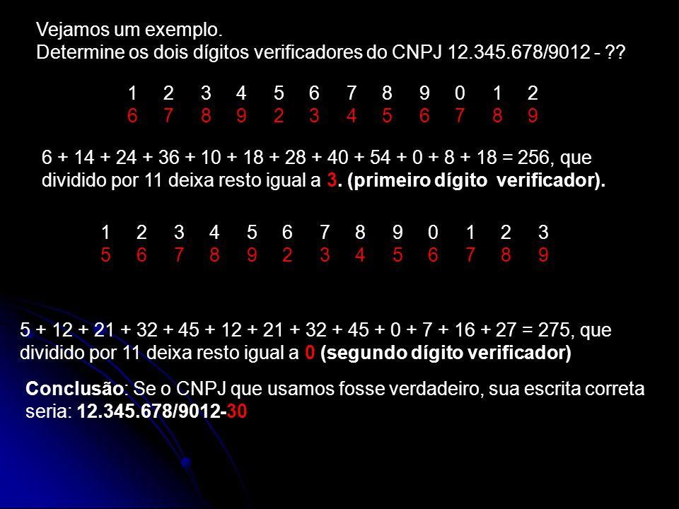Vejamos um exemplo. Determine os dois dígitos verificadores do CNPJ 12.345.678/9012 -