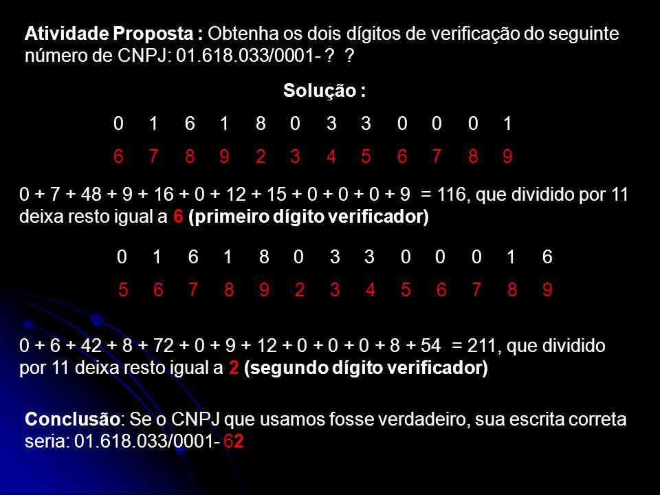 Atividade Proposta : Obtenha os dois dígitos de verificação do seguinte número de CNPJ: 01.618.033/0001-