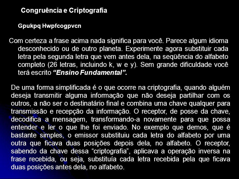 Congruência e Criptografia