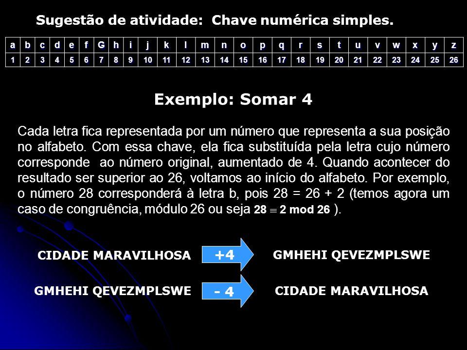 Exemplo: Somar 4 Sugestão de atividade: Chave numérica simples.