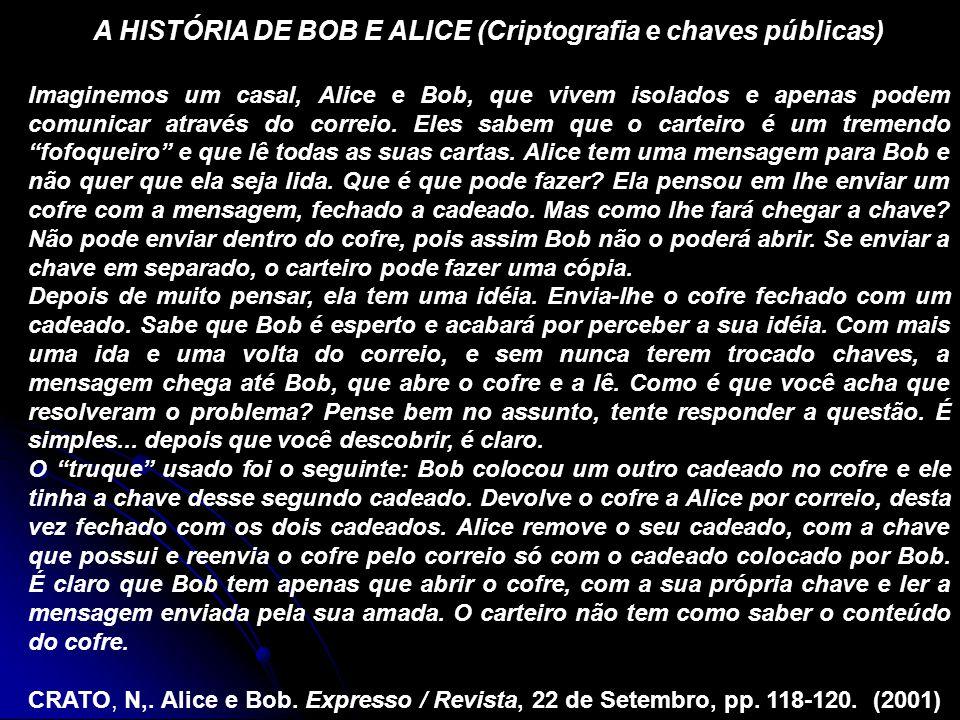 A HISTÓRIA DE BOB E ALICE (Criptografia e chaves públicas)