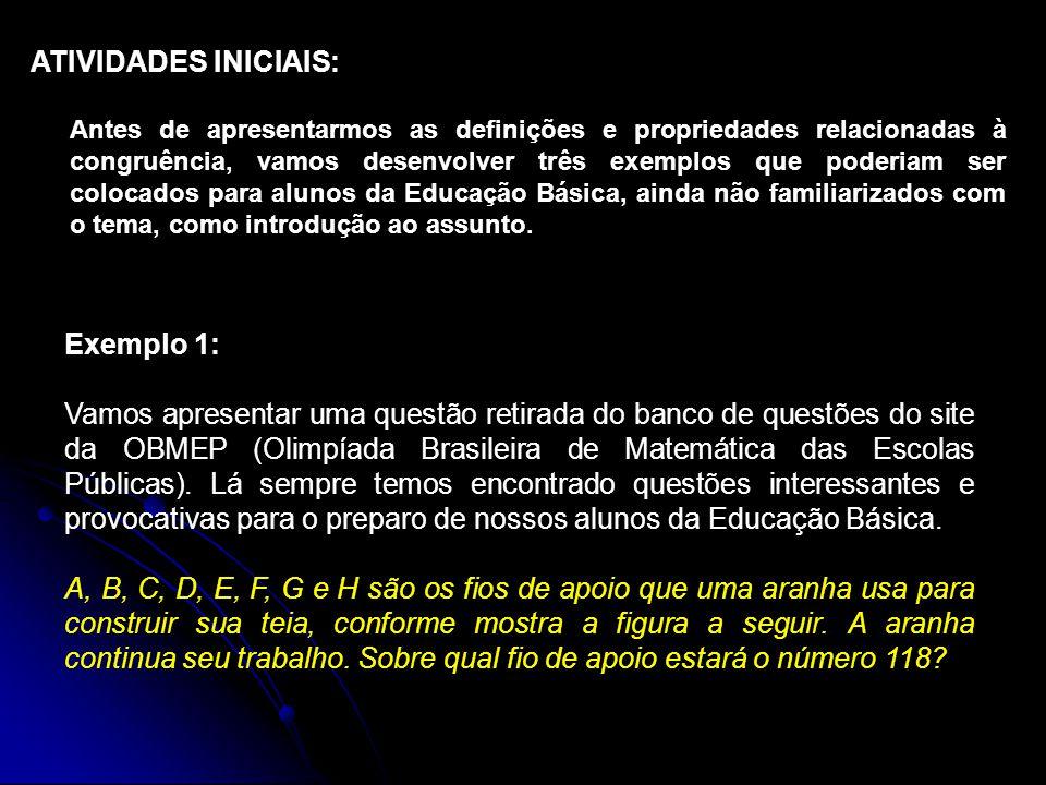 ATIVIDADES INICIAIS: Exemplo 1: