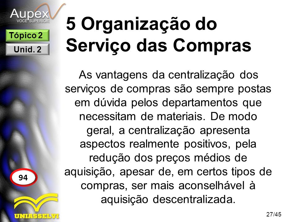 5 Organização do Serviço das Compras