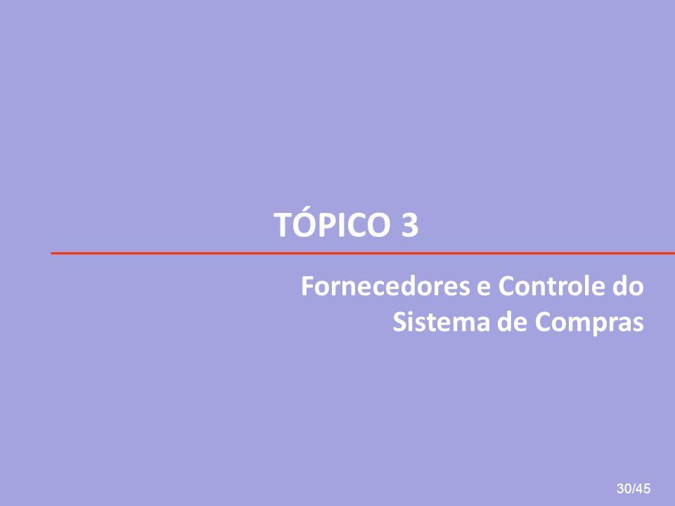 TÓPICO 3 Fornecedores e Controle do Sistema de Compras 30/45