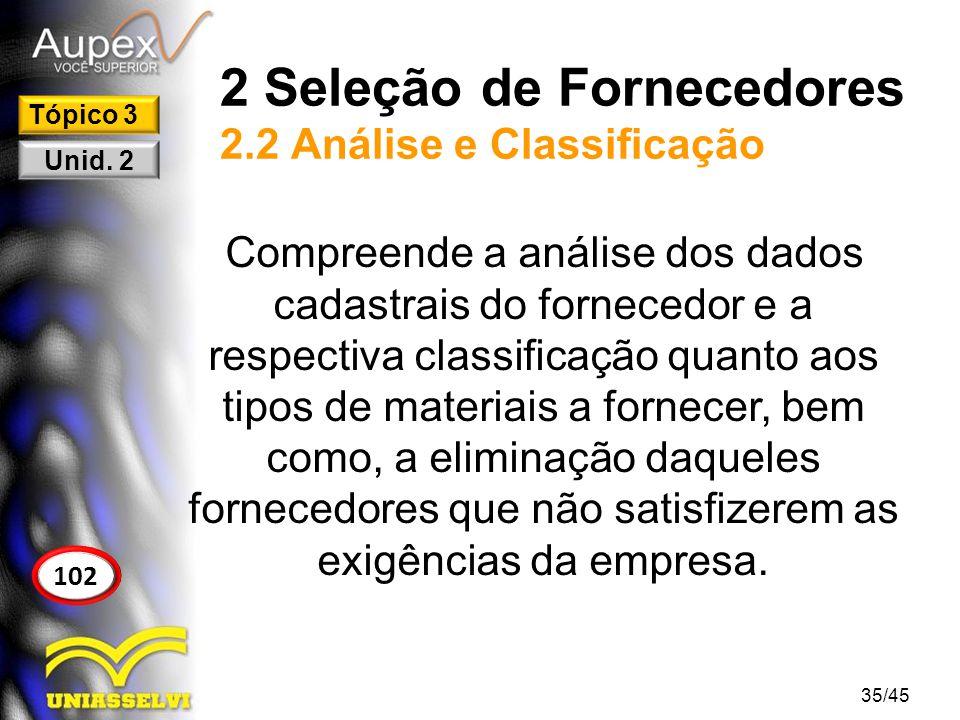 2 Seleção de Fornecedores 2.2 Análise e Classificação
